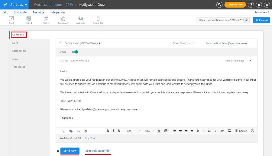 Sending Survey Reminders Questionpro Help Document