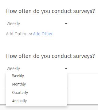Drop Down Menu Multiple Choice Questions