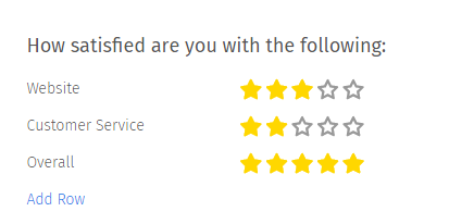 Star Rating Multiple Choice Question