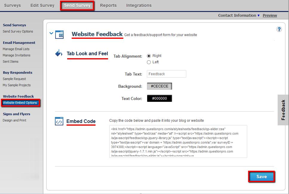 website feedback online surveys
