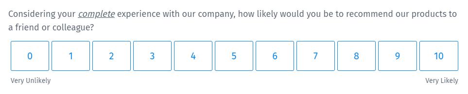 Survey Questions - Net Promoter Score Survey Question
