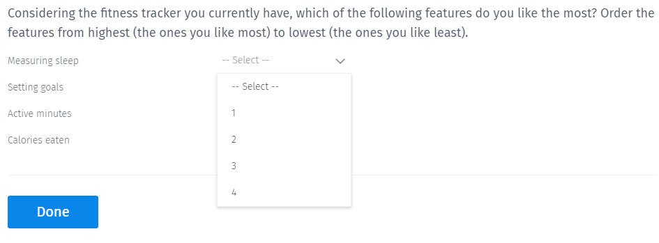 Rank Order Multiple Choice Question