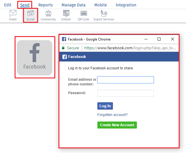 Select Facebook and Authenticate