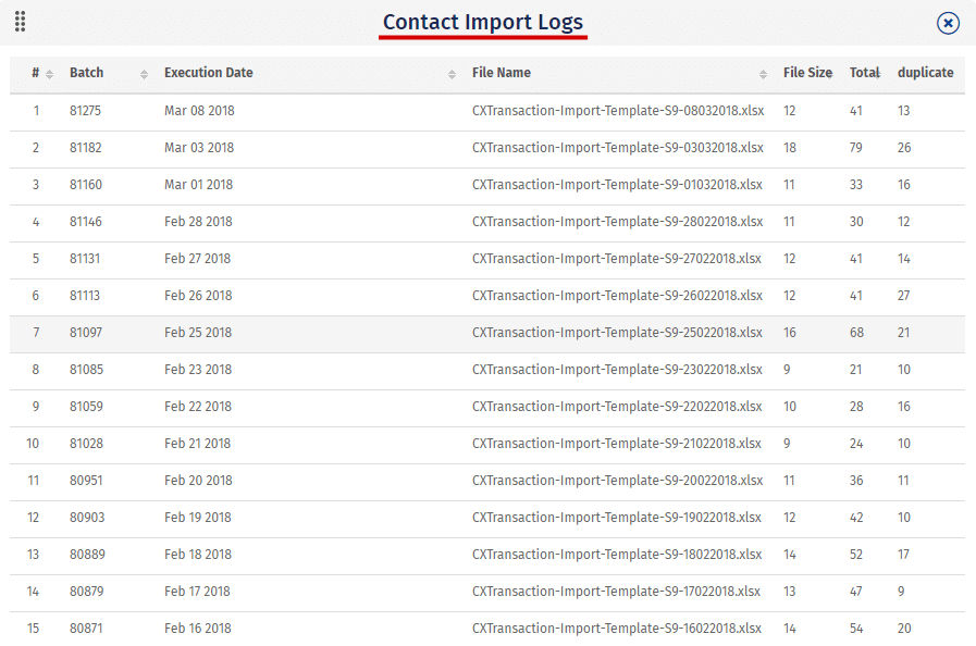 contact import logs